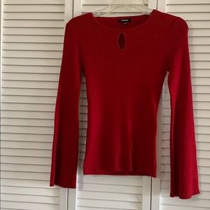 Premise Red Keyhole Wide Sleeve Sweater